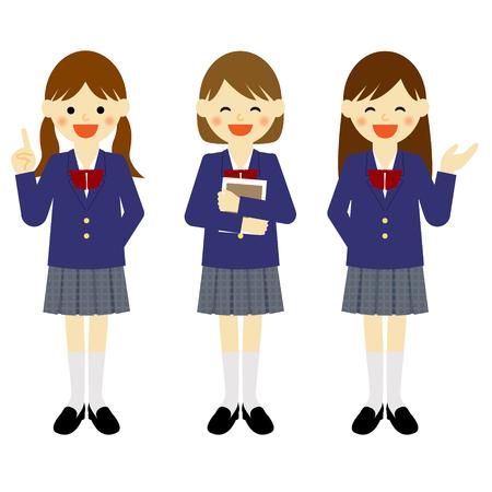 blazer: Blazer uniformed school girls in various poses