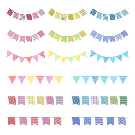 Set of colorful buntings garlands