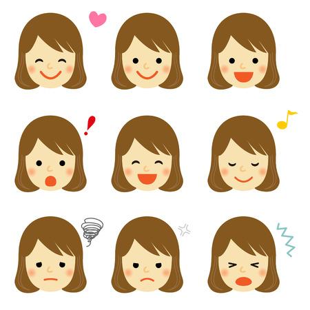 어린 소녀의 얼굴 표정 일러스트