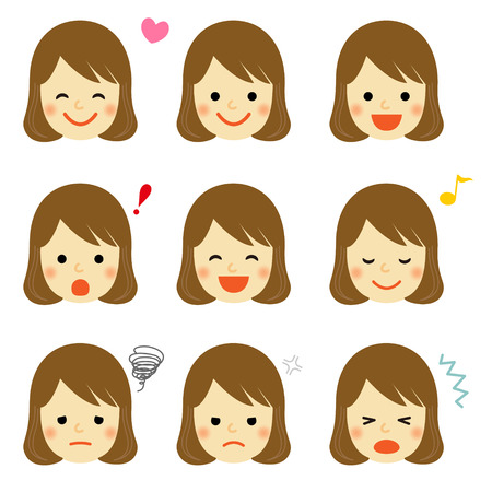young girl: Facial expressions of young girl