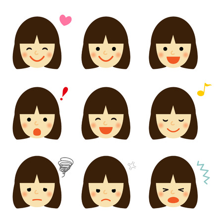 Facial expressions of asian girl