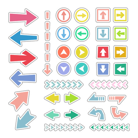Arrow icon set in sticker style Stock Illustratie