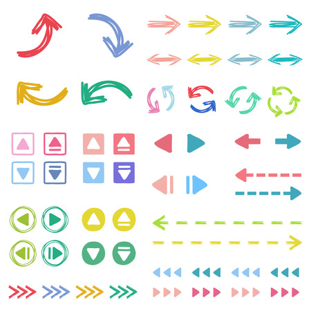 button: Arrow icon set in freehand style