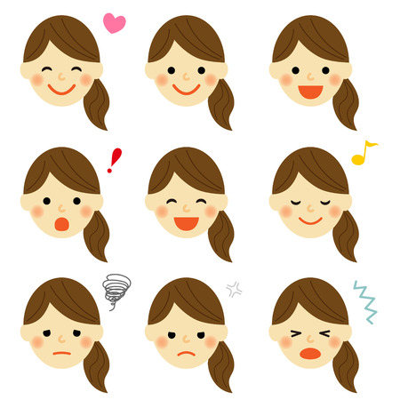 adult oops: Facial expressions of woman Illustration