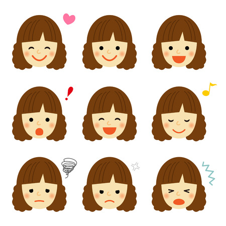 Facial expressions of young girl