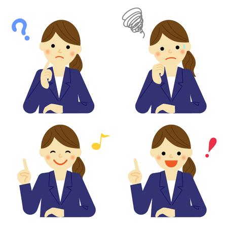 비즈니스 여성의 얼굴 표정 일러스트