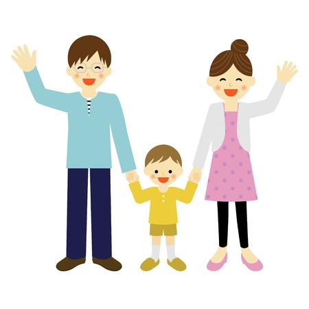 mom dad: los padres jóvenes con su manita hijo en la mano Vectores