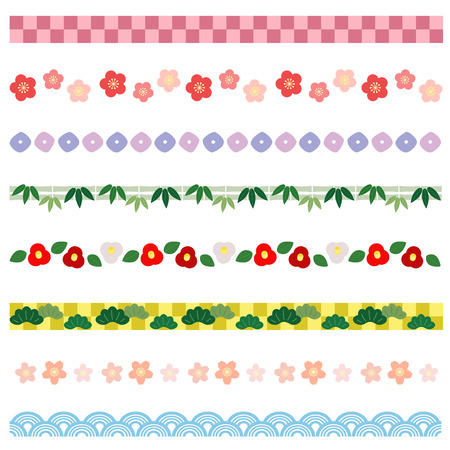 japanese: New year borders of Japanese