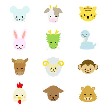 rata caricatura: Animales orientales lindos del zodiaco