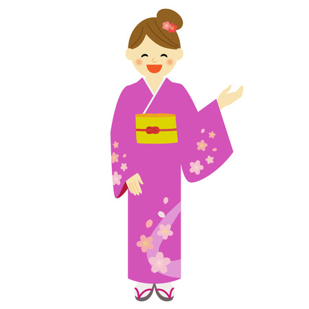 japanese kimono: Young woman wearing traditional Japanese kimono