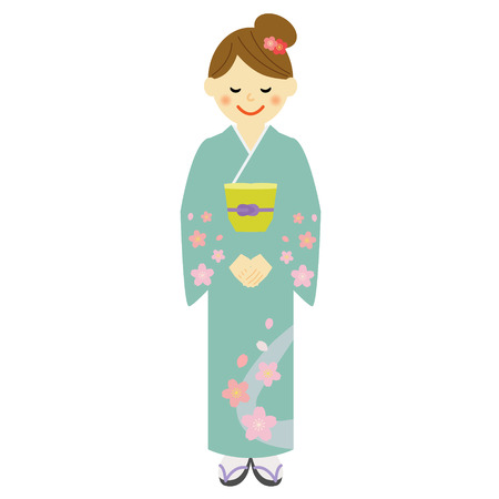 landlady: Young woman wearing traditional Japanese kimono