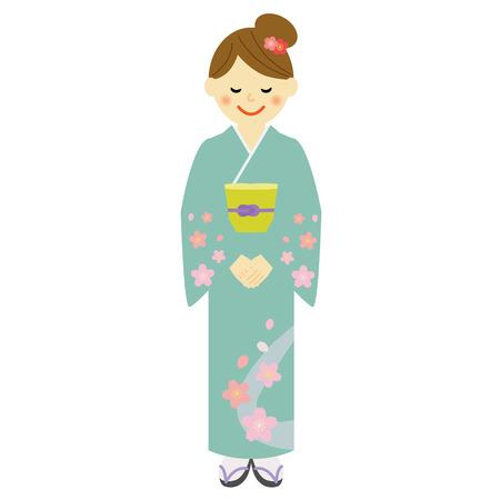japanese people: Young woman wearing traditional Japanese kimono