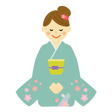 japanese new year: woman in kimono sitting on a floor Illustration