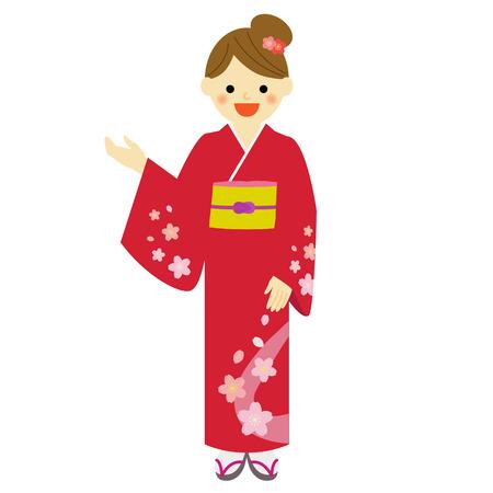 japanese kimono:  woman wearing traditional Japanese kimono Illustration