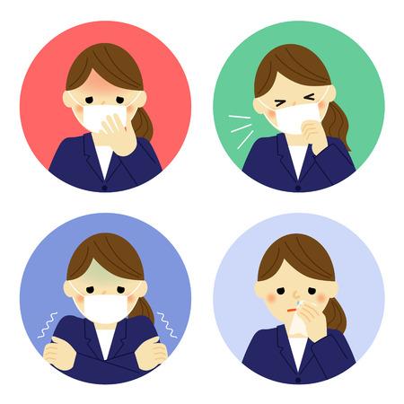 frio: Los síntomas del resfriado de la mujer de negocios