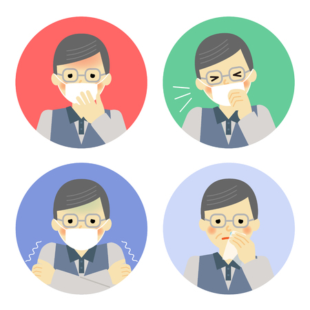 snivel: Cold symptoms of senior man Illustration