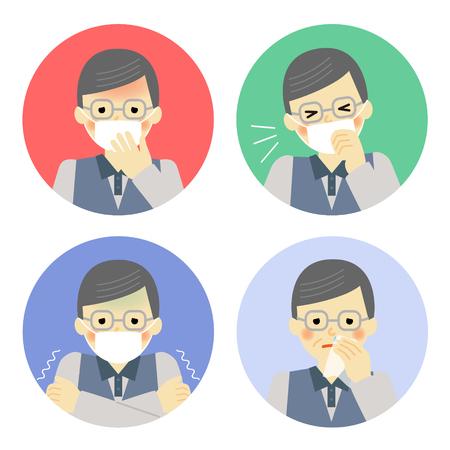 symptoms: Cold symptoms of senior man Illustration