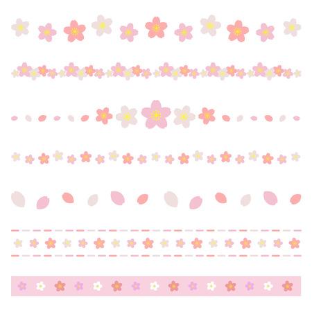 桜の花のボーダーのセット