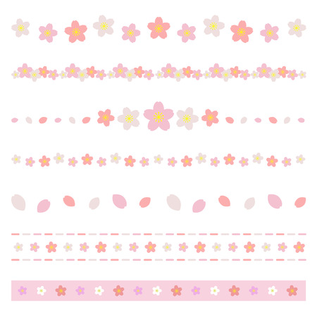 Set of cherry blossom flower borders Stock Illustratie