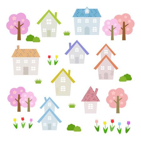 ensemble de maisons de printemps