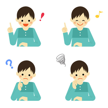 Facial expressions of boy Illustration