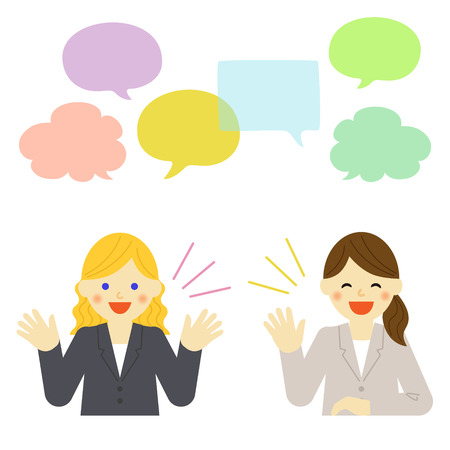 talkative: Two businesswomen talking to each other