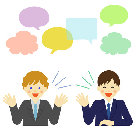 talkative: Two businessmen talking to each other