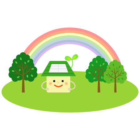 green fields: ecology house with rainbow