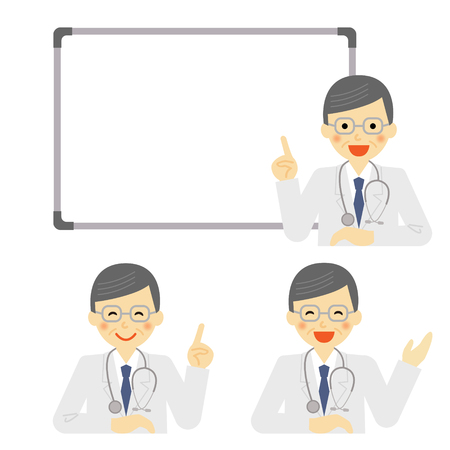 asian man smiling: Whiteboard with doctor
