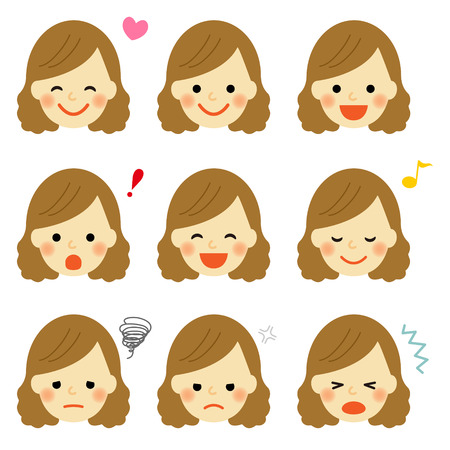 Gesichtsausdrücke des jungen Mädchens