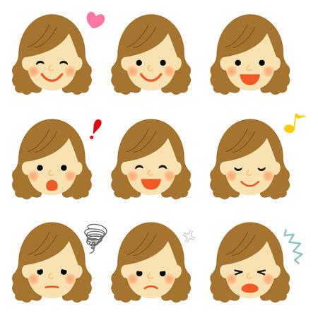 Les expressions du visage de jeune fille