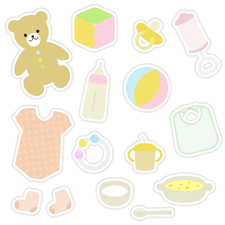 nursing clothes: set of baby items in sticker style