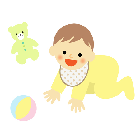 rompers: crawling baby and toy