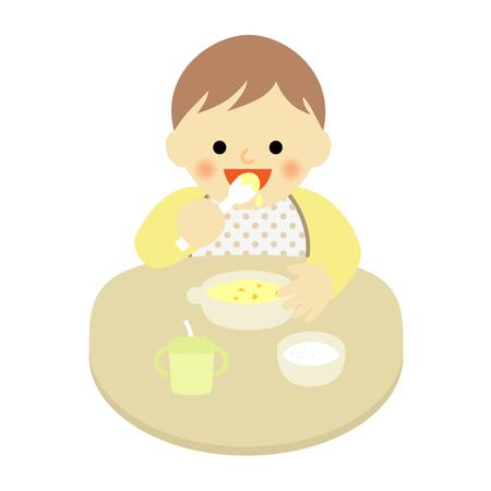 赤ちゃんがスプーンで食べ物を食べる  イラスト・ベクター素材