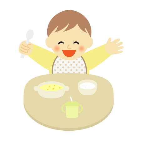 dining table: happy baby at mealtime