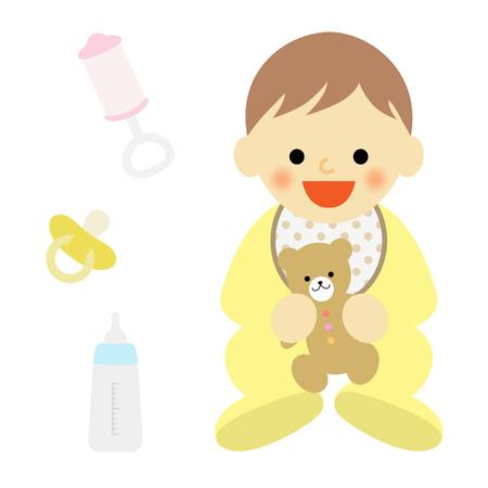 bib: sitting baby hugging a teddy bear Illustration