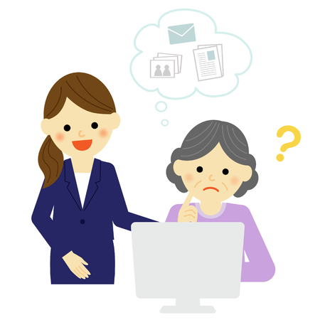 Young woman teaching senior woman how to use pc