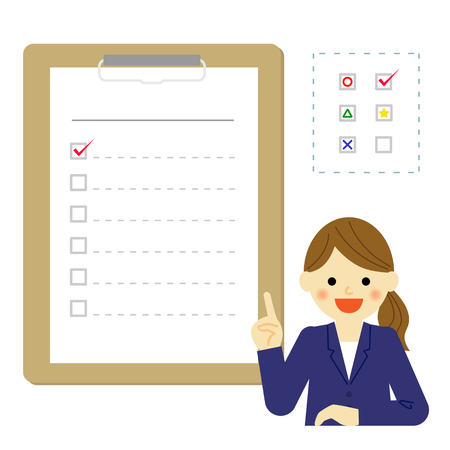recruit suit: business woman with checklist Illustration