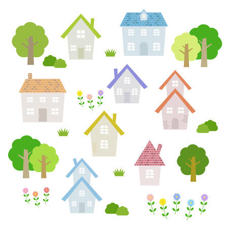 rural area: set of colorful houses Illustration