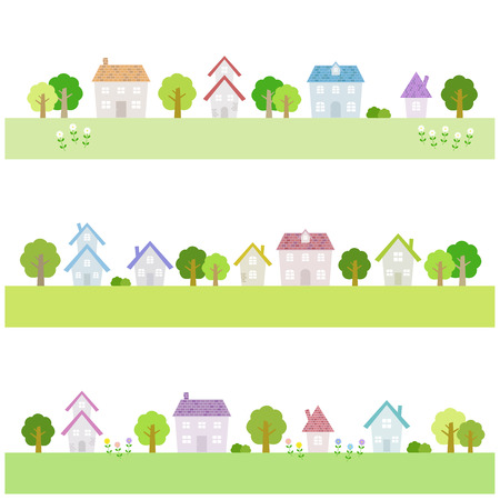 rural community: Suburban houses Illustration