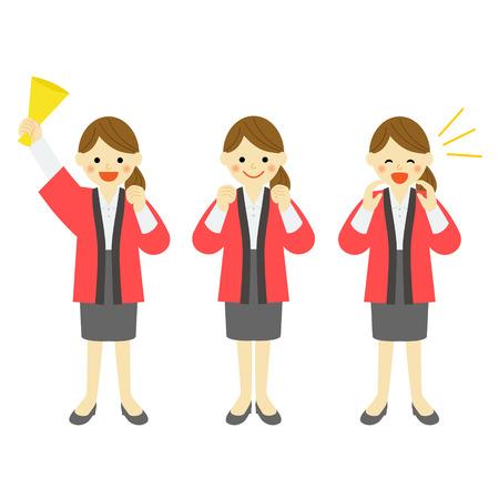 female salesclerk wearing japanese special outer wear