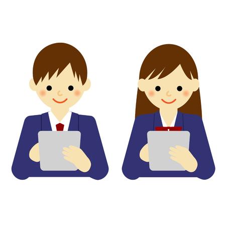 school boy and school girl using tablet Illustration
