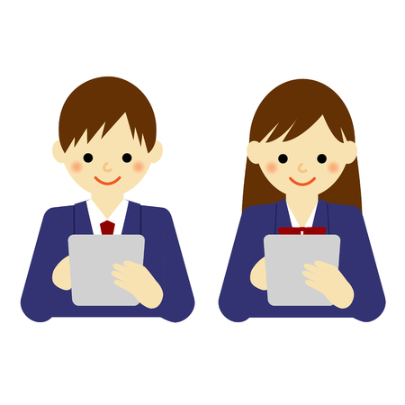 school boy and school girl using tablet Vectores