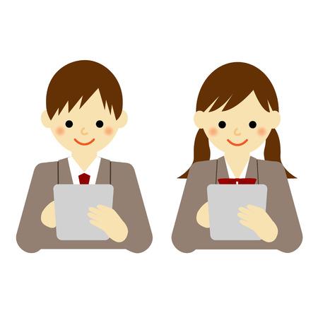 Schule Jungen und Mädchen der Schule Tablet