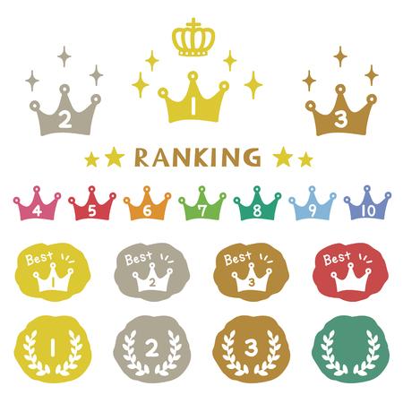 couronne Classement, icônes dessinées à la main