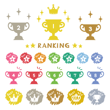 Ranking trophy, hand-drawn icons