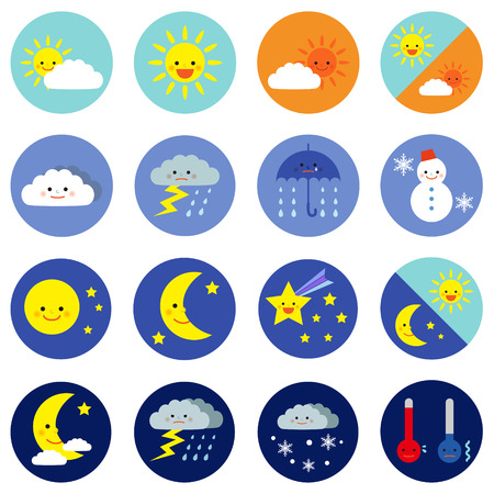 morning noon and night: weather icons
