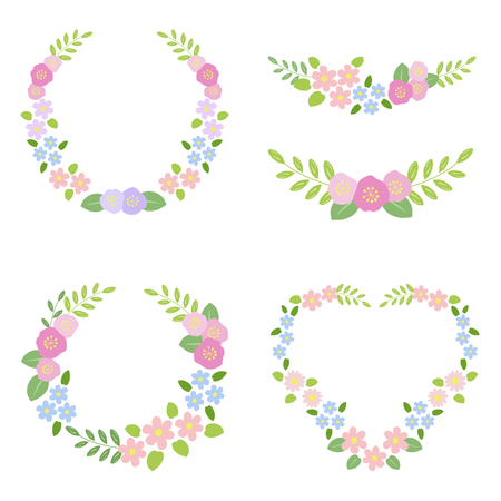 Set of flower wreath