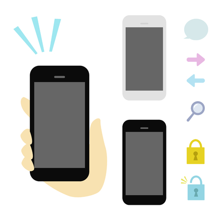 hand phone: Hand holding smart phone Illustration