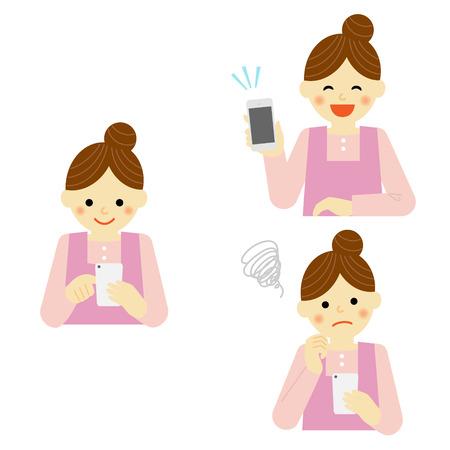 smart phone: woman using smart phone Illustration